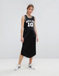 Moss Copenhagen Basketball Midi Dress With Varsity Logo - Black