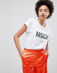 Moss Copenhagen Boyfriend T-Shirt With Jungle Print Logo - White