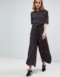Moss Copenhagen Button Front Wide Leg Jumpsuit In Spot - Black