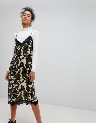 Moss Copenhagen Camo Slip Dress With Lace Trim - Green