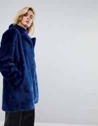 Moss Copenhagen Coat In Faux Fur - Blue