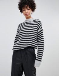 Moss Copenhagen knitted jumper in contrast stripe - Black