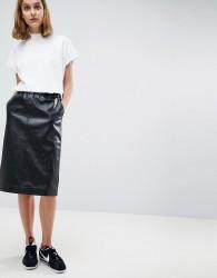Moss Copenhagen Leather Midi Skirt - Black