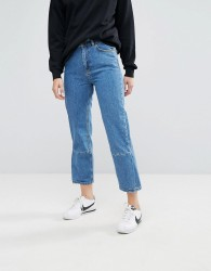 Moss Copenhagen Mom Jeans With Reconstructed Panel - Blue