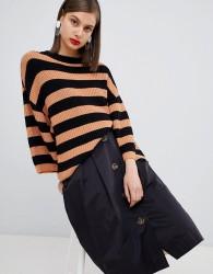 Moss Copenhagen oversized knitted jumper in stripe - Brown