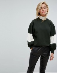 Moss Copenhagen Oversized Sweatshirt With Balloon Panel Sleeves - Green