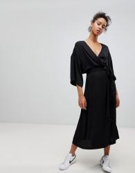 Moss Copenhagen Polysilk Wrap Dress - Black