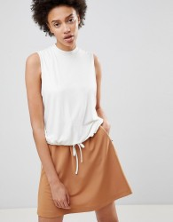 Moss Copenhagen Sleeveless Top With Tie Waist In Rib - White
