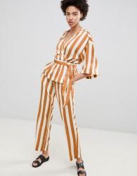 Moss Copenhagen Straight Leg Trousers In Satin Stripe Co-Ord - Brown