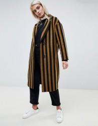 Moss Copenhagen tailored coat in contrast stripe - Brown