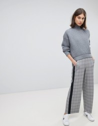 Moss Copenhagen Tailored Trousers With Side Stripe In Check - Grey