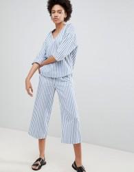 Moss Copenhagen Wide Leg Culotte Trousers In Summer Stripe Co-Ord - Blue