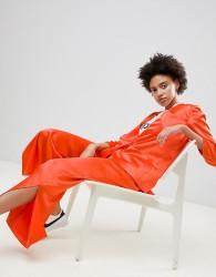 Moss Copenhagen Wide Leg Trousers With Side Split - Orange
