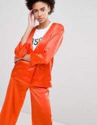 Moss Copenhagen Wrap Front Soft Blazer - Orange