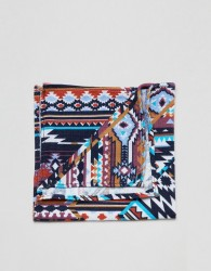 Moss London pocket square with aztec design - Blue