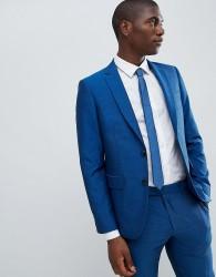 Moss London Skinny Suit Jacket In Blue - Multi