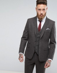 Moss London Skinny Suit Jacket In Brown Tweed - Brown