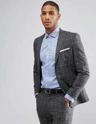 Moss London Skinny Suit Jacket In Check - Grey