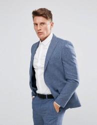 Moss London Skinny Suit Jacket In Fleck - Blue