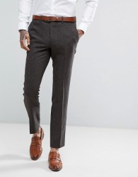 Moss London Skinny Suit Trousers In Brown Tweed - Brown
