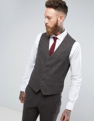 Moss London Skinny Suit Waistcoat In Brown Tweed - Brown