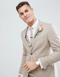Moss London Skinny Wedding Suit Jacket In Latte - Tan
