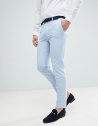 Moss London Wedding Skinny Suit Trousers In Light Blue - Blue