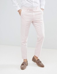 Moss London Wedding Skinny Suit Trousers In Light Pink Linen - Pink