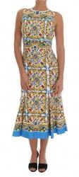 Multicolor Majolica Print Cotton Dress