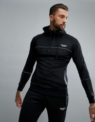 Muscle Monkey Muscle Fit Hoodie With Reflective Piping - Black