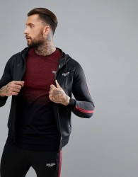 Muscle Monkey Track Hoodie In Black With Red Stripe - Black