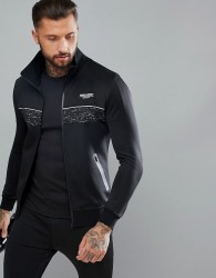 Muscle Monkey Track Jacket In Black With Reflective Speckle - Black