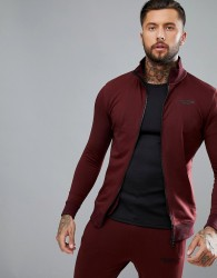 Muscle Monkey Track Jacket In Burgundy - Red