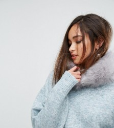 My Accessories Fur Collar in Stone Grey - Grey