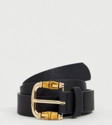My Accessories London black belt with bamboo detail buckle - Black