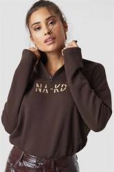 NA-KD - Sweatshirt - Front Zipper Sweatshirt - Coffee