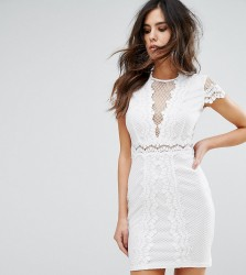 NaaNaa Bodycon Dress In Mesh Lace Contrast - White