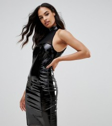 NaaNaa Bodycon Dress With Mesh Detail In PVC - Black