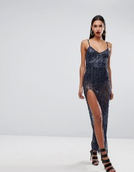 NaaNaa Cami Maxi Dress With Thigh Split In Sequin - Navy