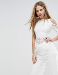 NaaNaa Cold Shoulder Top In Eyelash Lace - White