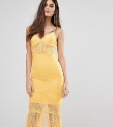 NaaNaa Corset Detail Midi Dress in Lace with Pephem - Yellow