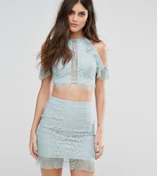 NaaNaa Eyelash Lace Crop Top With Frill Cold Shoulder - Blue