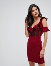 NaaNaa Frill Detail Mini Dress in Sequins - Red