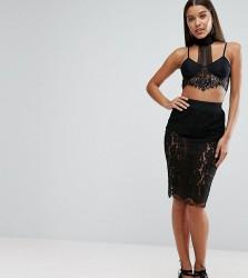 NaaNaa Lace Midi Skirt in Eyelash Lace - Black