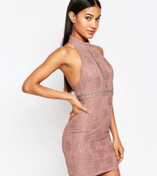 NaaNaa Lace Pencil Dress With High Neck - Purple