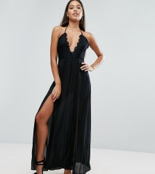 NaaNaa Maxi Dress with Double Thigh Split and Lace Trim - Black