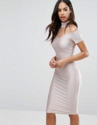 NaaNaa Midi Dress with Strap Detail - Pink