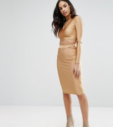 NaaNaa Midi Skirt with Cut Out Co-ord - Gold