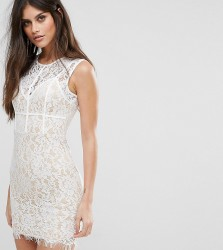 NaaNaa Mini Dress with Eyelash Lace Hem and Piping - White