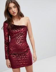 NaaNaa One Shoulder Bodycon Dress In Velvet Leopard - Red